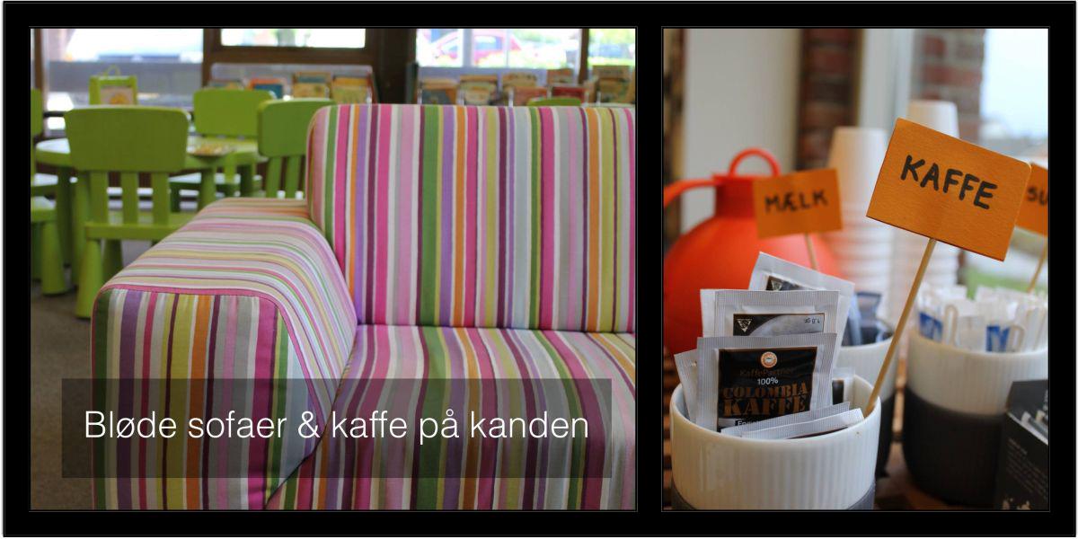 Sofaer og kaffe på kanden