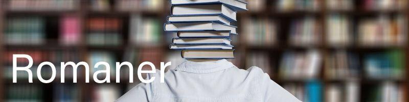 Billede af dame med bøger som hovede