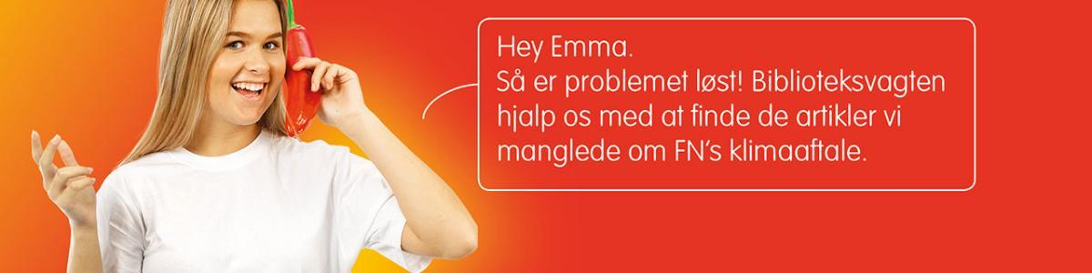 Banner for Biblioteksvagten.dk - pige der taler i telefon