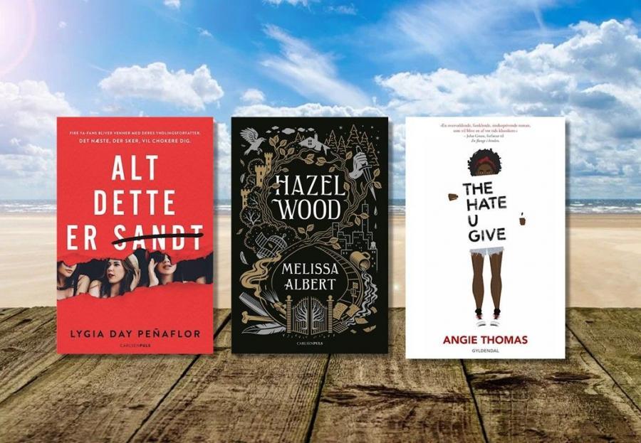 Billede af tre bøger: 'The hate you give', 'Alt dette er sandt' og 'Hazel wood'