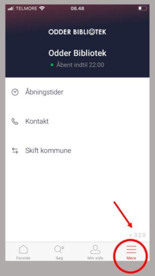 Mobiltelefon, der viser appen Biblioteket